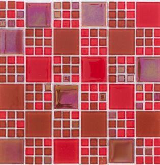 Mozaika szklana 4mm 54336 CZERWONA / RED RAINBOW MIX MULTI