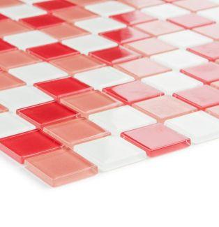 Mozaika szklana 4mm 53216 CZERWONO-BIAŁA MIX