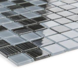 Mozaika szklana 4mm 53209 CZARNO-SZARA / PASKI / MIX