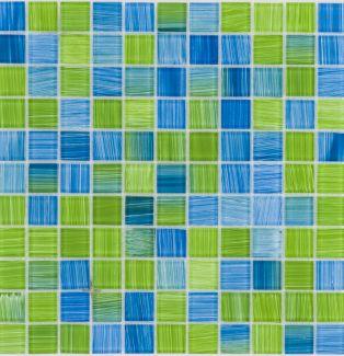 Mozaika szklana 4mm 41084 ZIELONA MIX / PASKI