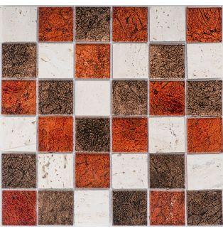 Mozaika 57290 CZERWONO-BRĄZOWO-KREMOWA/MARMUR/SZKŁO