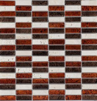 Mozaika 57283 CZERWONO-BRĄZOWO-KREMOWA/MARMUR/SZKŁO