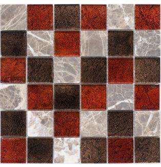Mozaika 57252 CZERWONO-BRĄZOWA / MARMUR / SZKŁO / METALLIC