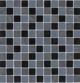 Mozaika szklano-kamienna 54329 CZARNO-SZARA / MARMUR / SZKŁO