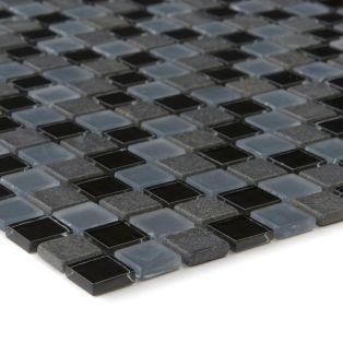 Mozaika szklano-kamienna 54312 CZARNO-SZARA / MARMUR / SZKŁO