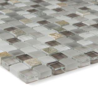 Mozaika szklano-kamienna 66209 BEŻOWO-SZARA / KWARCYT / SZKŁO