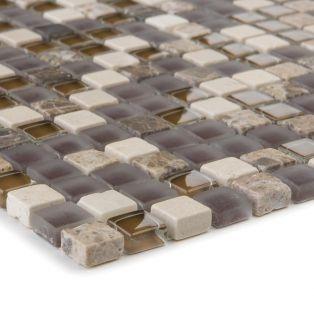 Mozaika szklano-kamienna 47925 BRĄZOWO-BEŻOWA / MARMUR / SZKŁO