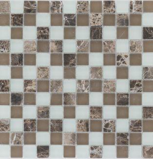 Mozaika 47574 BRĄZOWO-BIAŁA / MARMUR JAVA / SZKŁO