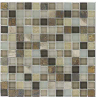 Mozaika 66346 BRĄZOWO-BEŻOWA / ŁUPEK / STAL / SZKŁO