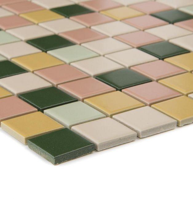 Mozaika ceramiczna 05051 ZIELONO-BEŻOWO-RÓŻOWA / MIX MATOWA