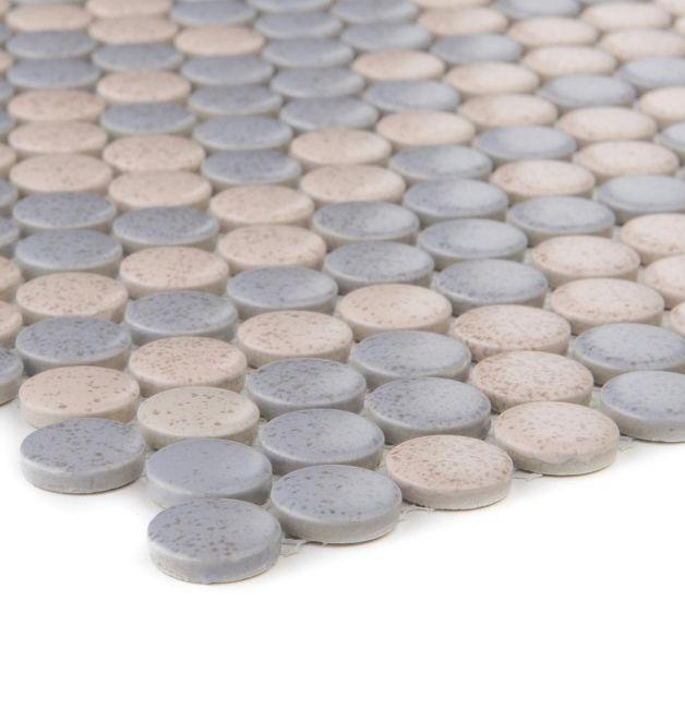 Mozaika ceramiczna 41206 BEŻOWO-SZARA GUZIKOWA MIX MAT