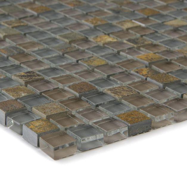 Mozaika szklano-kamienna 66230 SZARA / MULTICOLOR / ŁUPEK / SZKŁO