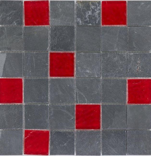 Mozaika 66599 SZARO-CZERWONA / ŁUPEK / SZKŁO / LAVA