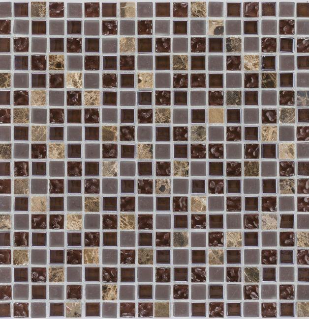 Mozaika 47918 BRĄZOWO-BEŻOWA / MARMUR JAVA / SZKŁO