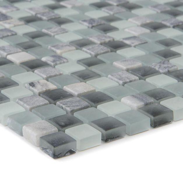 Mozaika szklano-kamienna 47895 SZARO-CZARNA / MARMUR / SZKŁO