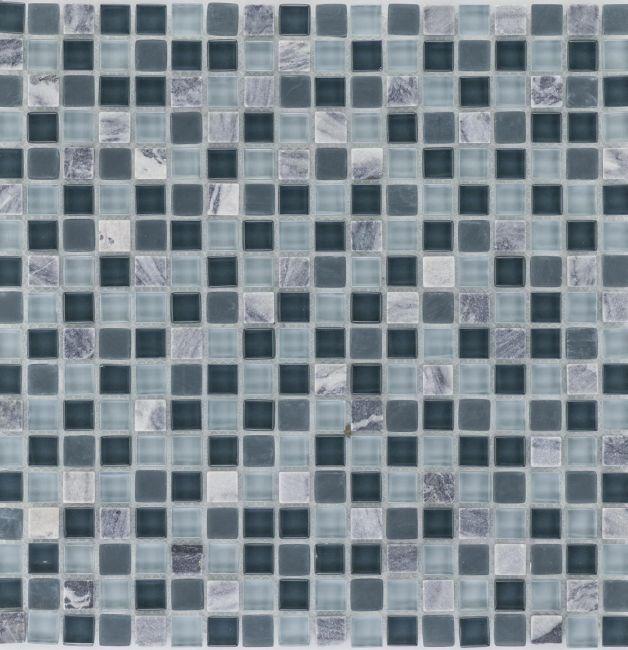 Mozaika szklano-kamienna 47857 SZARA MIX / MARMUR / SZKŁO
