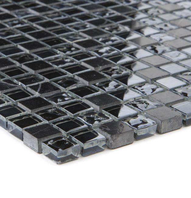 Mozaika szklano-kamienna 47833 CZARNA / MARMUR / SZKŁO