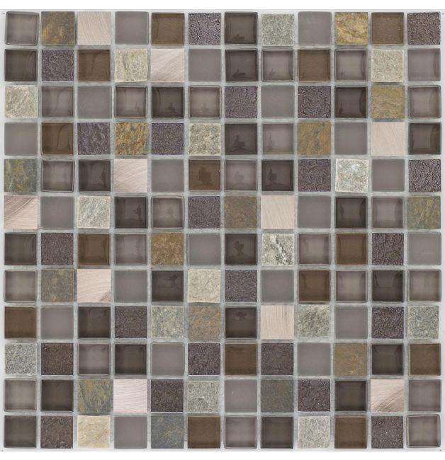 Mozaika szklano-kamienna 66322 MIEDZIANO-SZARA / ŁUPEK / SZKŁO