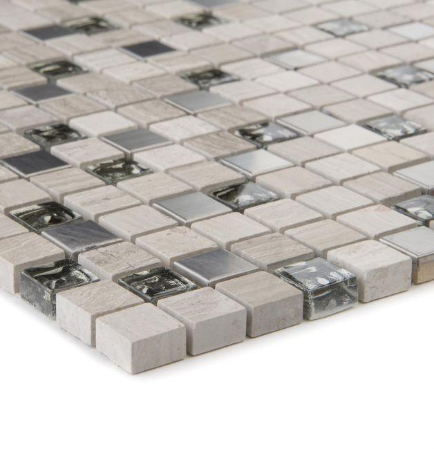Mozaika szklano-kamienna 65615 SZARA / MARMUR / STAL