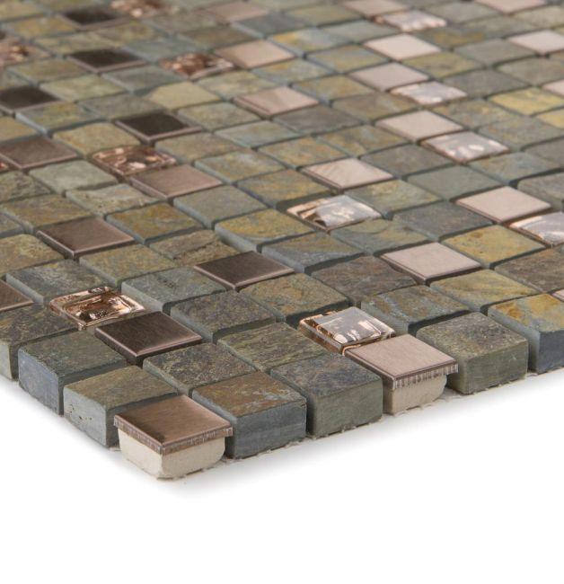 Mozaika szklano-kamienna 66285 SZARO-MIEDZIANA / ŁUPEK
