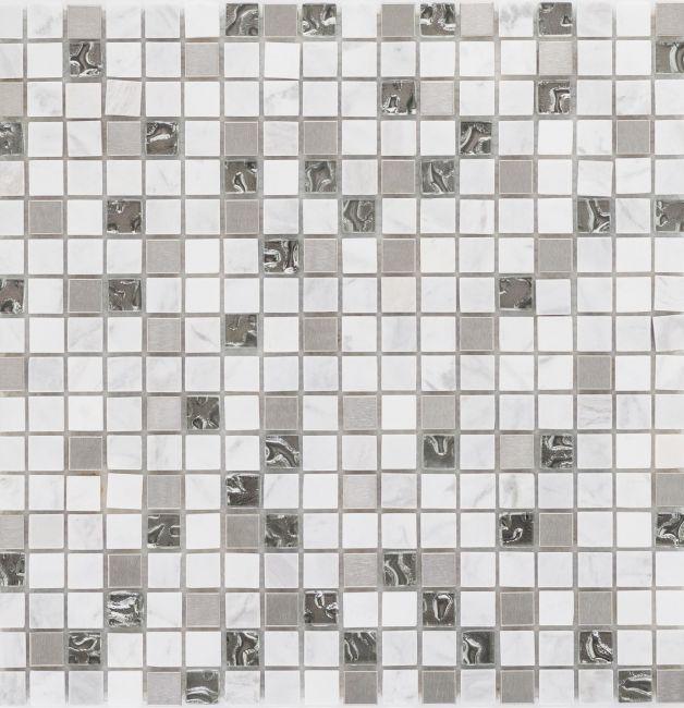 Mozaika szklano-kamienna 66261 SZARO-BIAŁA / MARMUR / SZKŁO / STAL