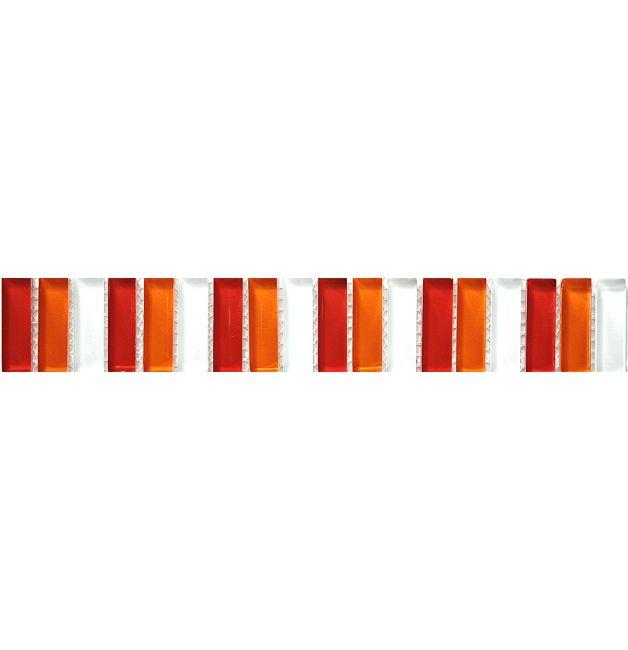 Listwa szklana 8mm 36820 CZERWONO-POMARANCZOWO-BIAŁA MIX