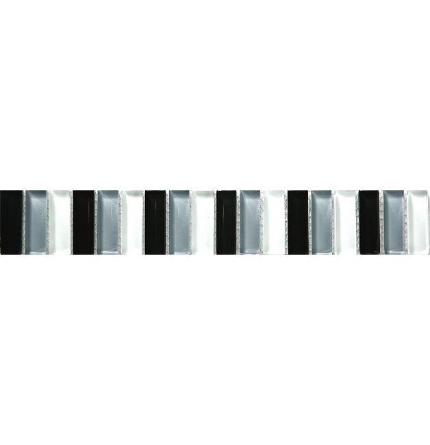 Listwa szklana 8mm 33744 CZARNO-SZARO-BIAŁA MIX