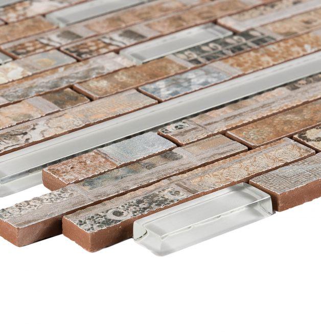 Mozaika szklano-ceramiczna 8 mm 86535, beżowo-szara