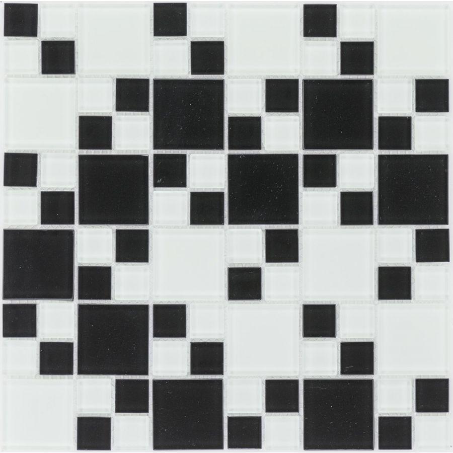 Mozaika szklana 4mm 54411 BIAŁO-CZARNA / WHITE BLACK MIX MULTI
