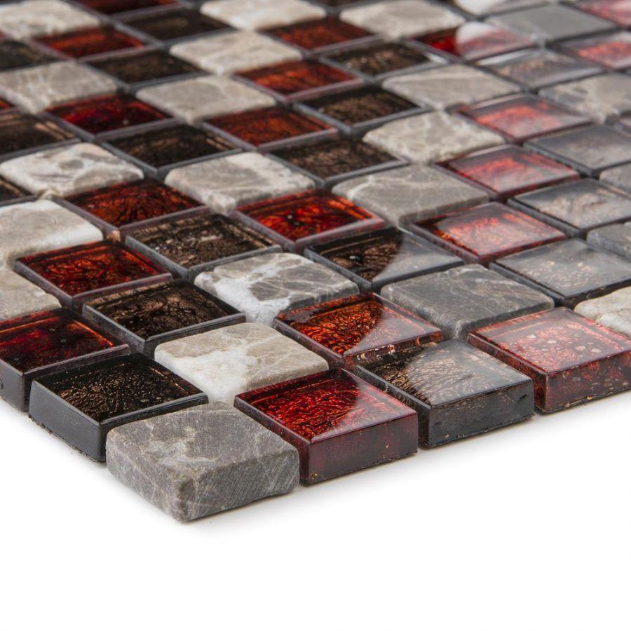 Mozaika 57245 CZERWONO-BRĄZOWA / MARMUR / SZKŁO / METALLIC