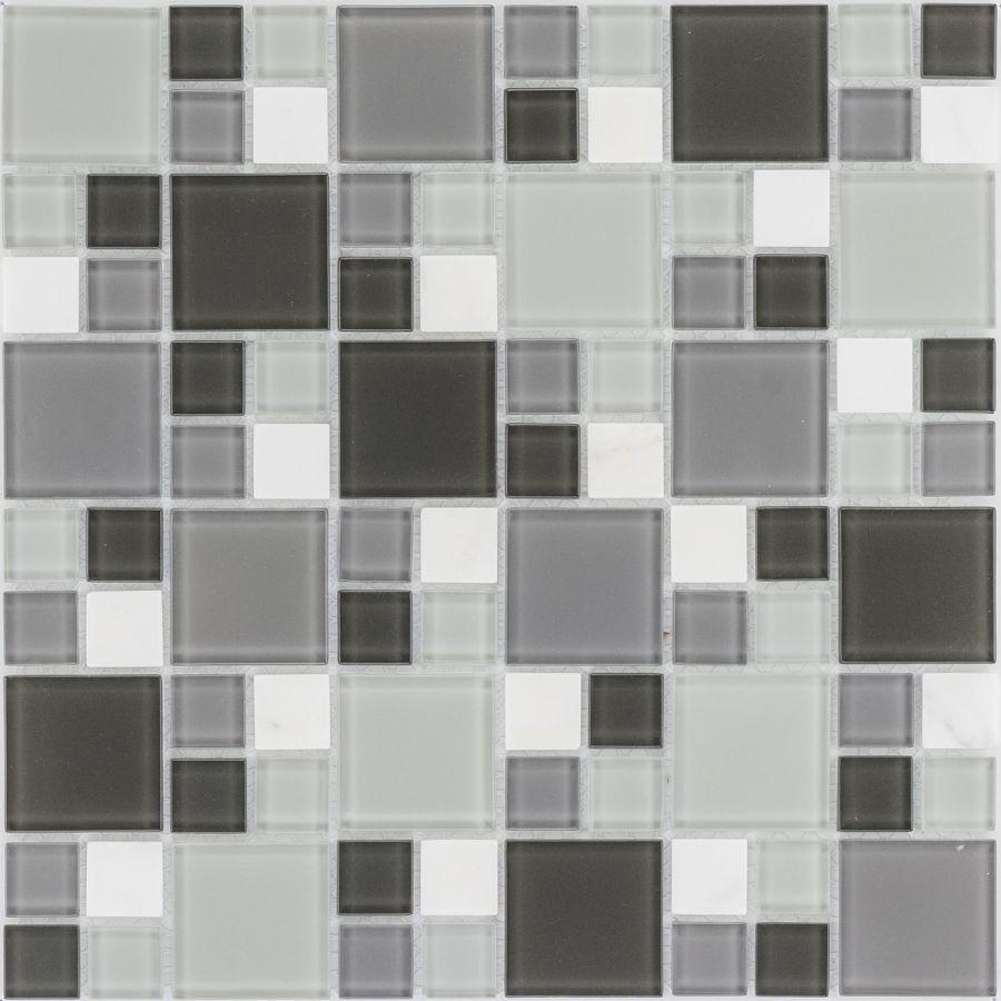Mozaika szklano-kamienna 54404 SZARO-BIAŁA / MARMUR / SZKŁO