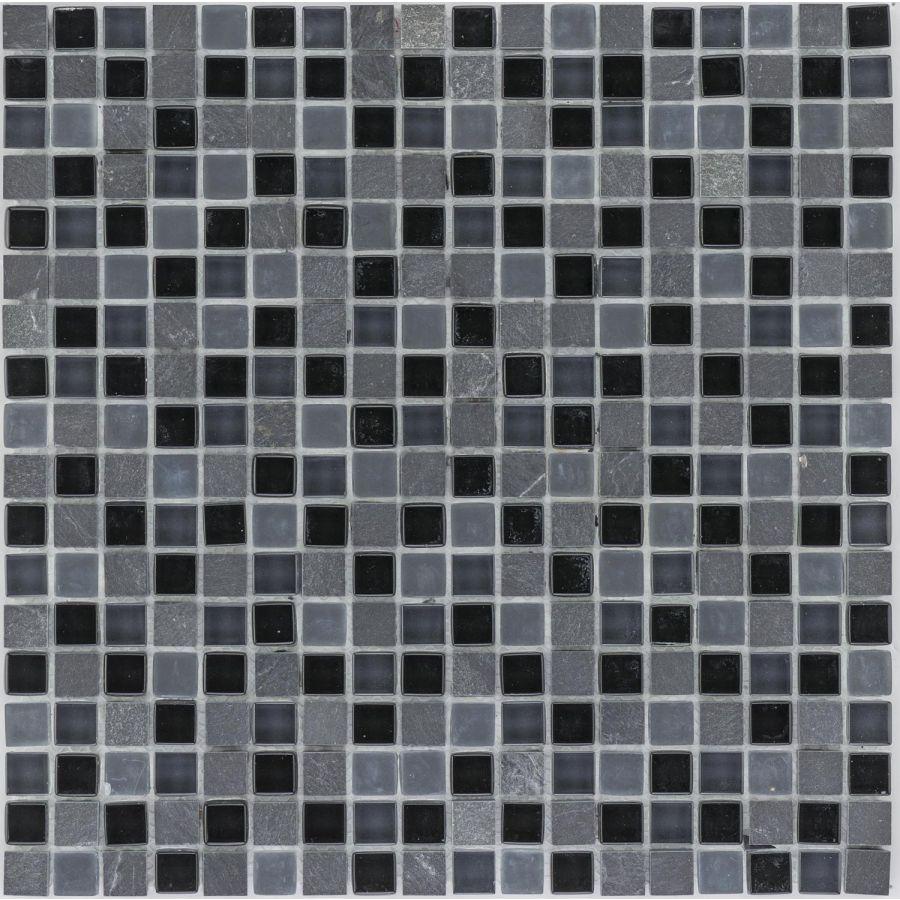Mozaika szklano-kamienna 66162 CZARNA / MARMUR / SZKŁO