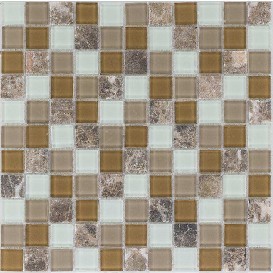 Mozaika 54299 BRĄZOWO-BEŻOWO-BIAŁA / MARMUR / SZKŁO