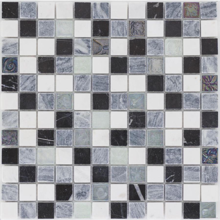 Mozaika 52622 CZARNO-SZARO-BIAŁA / MARMUR / SZKŁO
