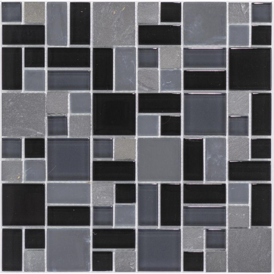 Mozaika szklano-kamienna 66186  CZARNA / MARMUR / SZKŁO