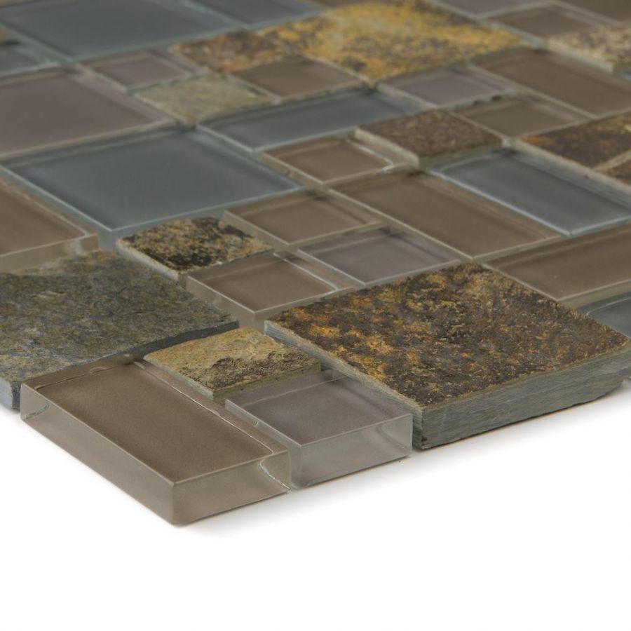 Mozaika szklano-kamienna 66223 SZARA / MULTICOLOR / ŁUPEK / SZKŁO