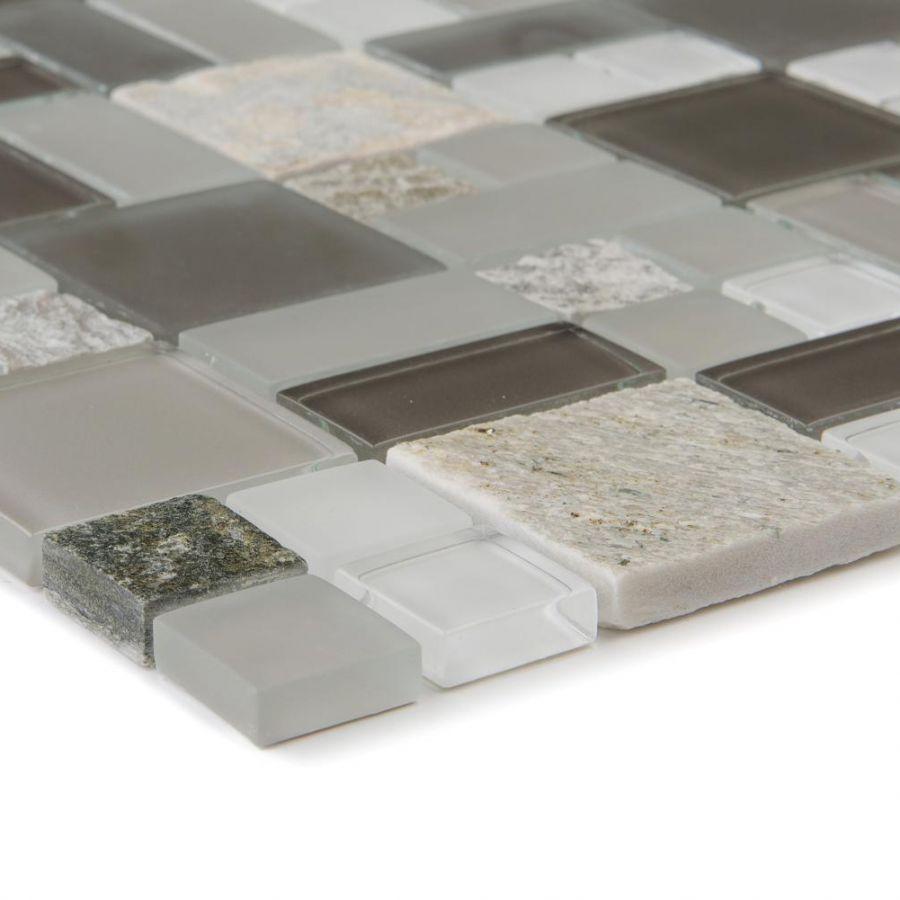 Mozaika szklano-kamienna 66193 BEŻOWO-SZARA / KWARCYT / SZKŁO