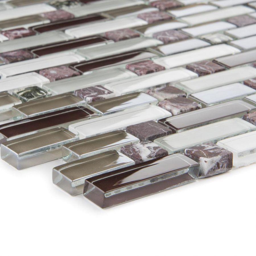 Mozaika szklano-kamienna 66315 SZARO-BIAŁO-FIOLETOWA