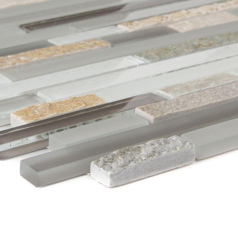 Mozaika szklano-kamienna 66216 BEŻOWO-SZARA / KWARCYT / SZKŁO