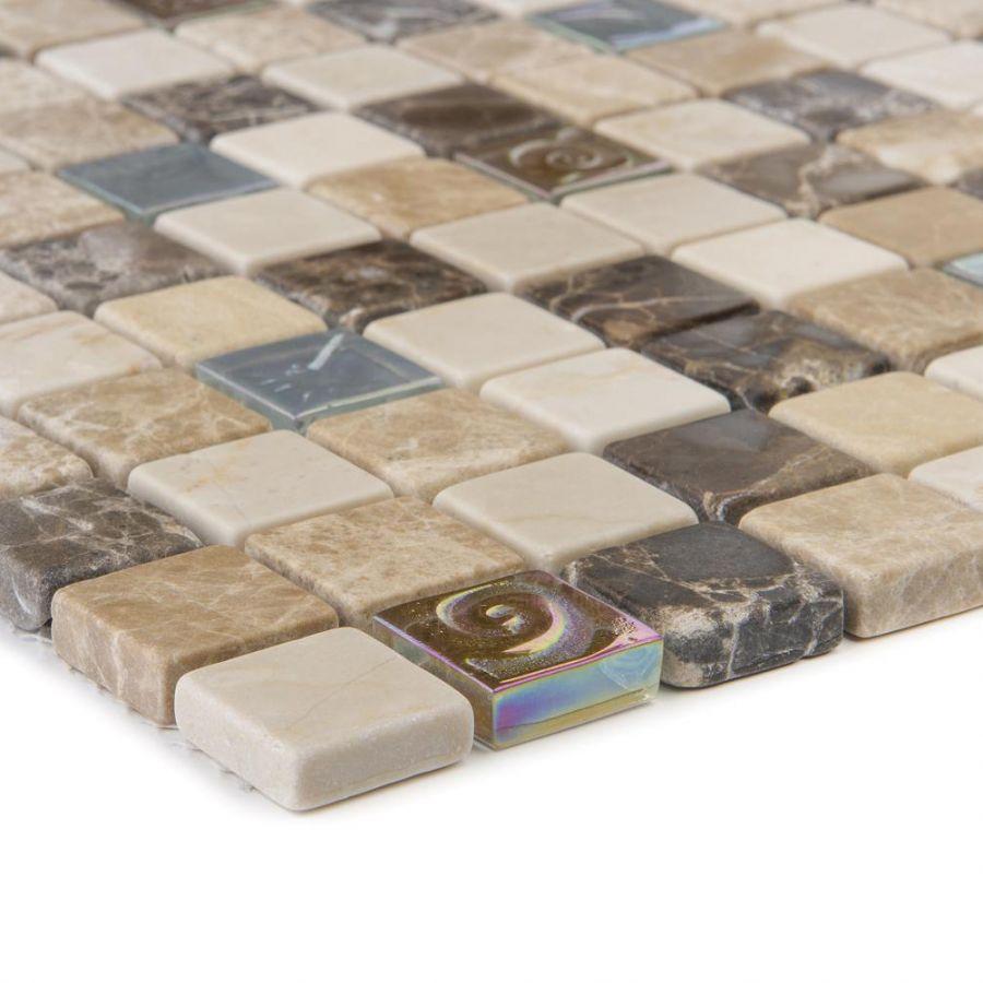 Mozaika szklano-kamienna 52615 BEŻOWO-BRĄZOWA / MARMUR / SZKŁO