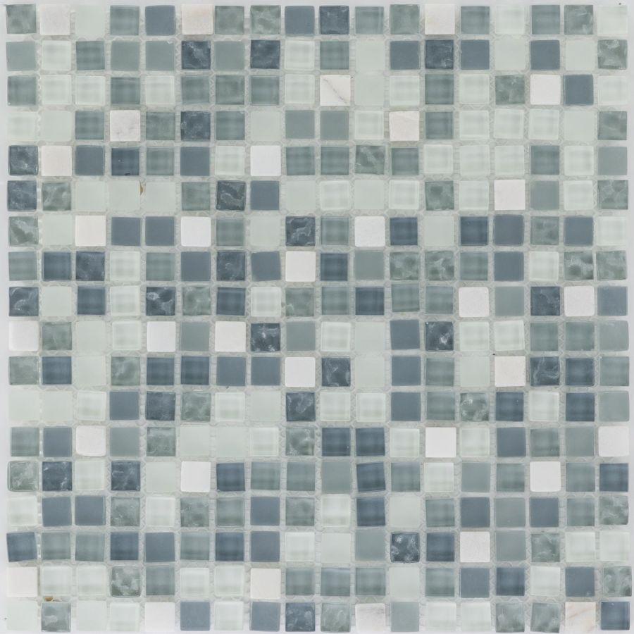 Mozaika szklano-kamienna 47901 NIEBIESKO-BIAŁA / MARMUR / SZKŁO