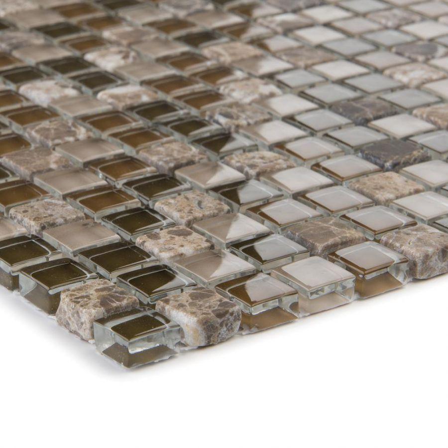 Mozaika szklano-kamienna 47840 BRĄZOWA / MARMUR JAVA / SZKŁO