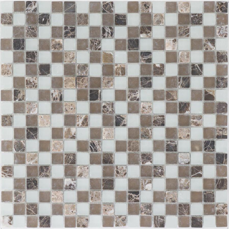Mozaika 47567 BRĄZOWO-BIAŁA / MARMUR JAVA / SZKŁO