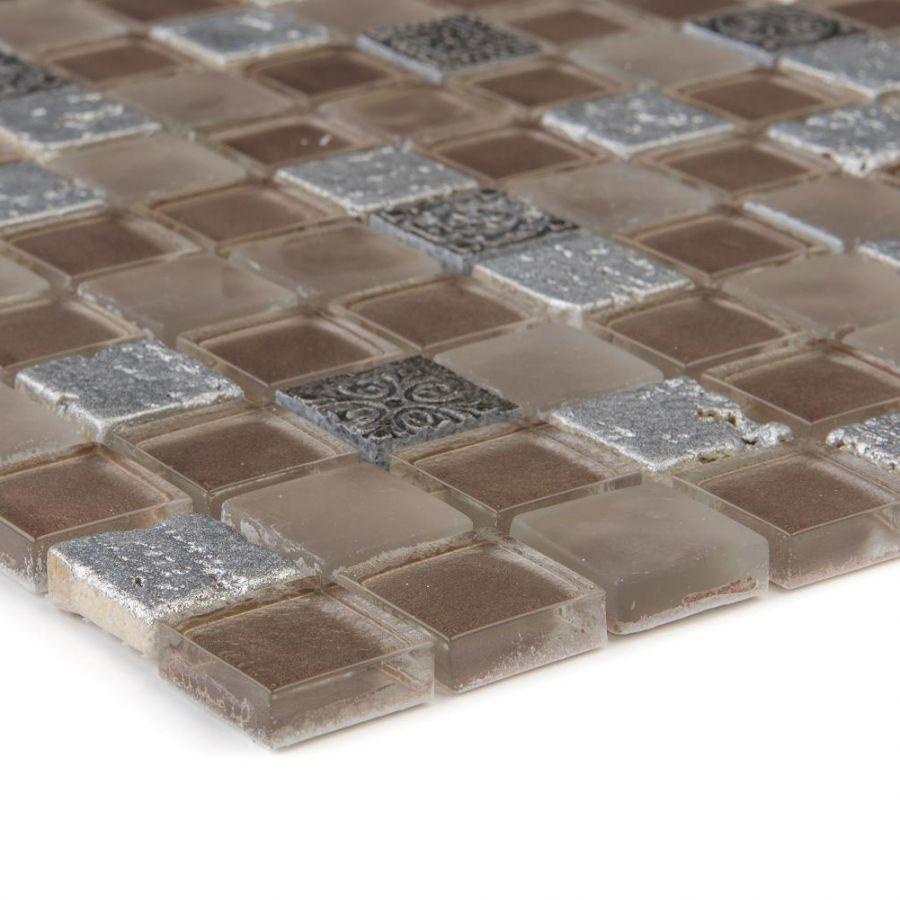 Mozaika szklano-kamienna 65608 SREBRNA / RELIEF