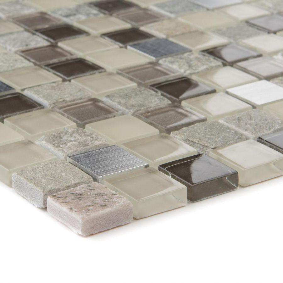 Mozaika szklano-kamienna 66339 SZARO-BEŻOWA / KWARCYT / STAL