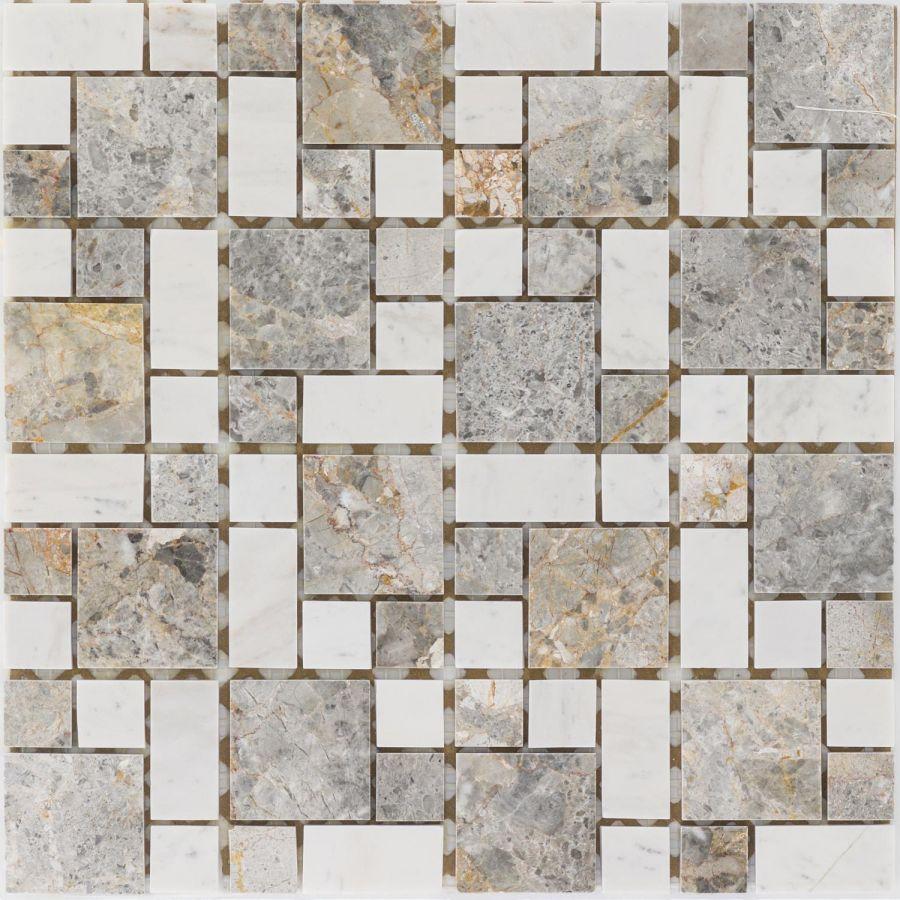 Mozaika kamienna 66094 SZARO-BIAŁA / MARMUR / GOLDEN VEIN