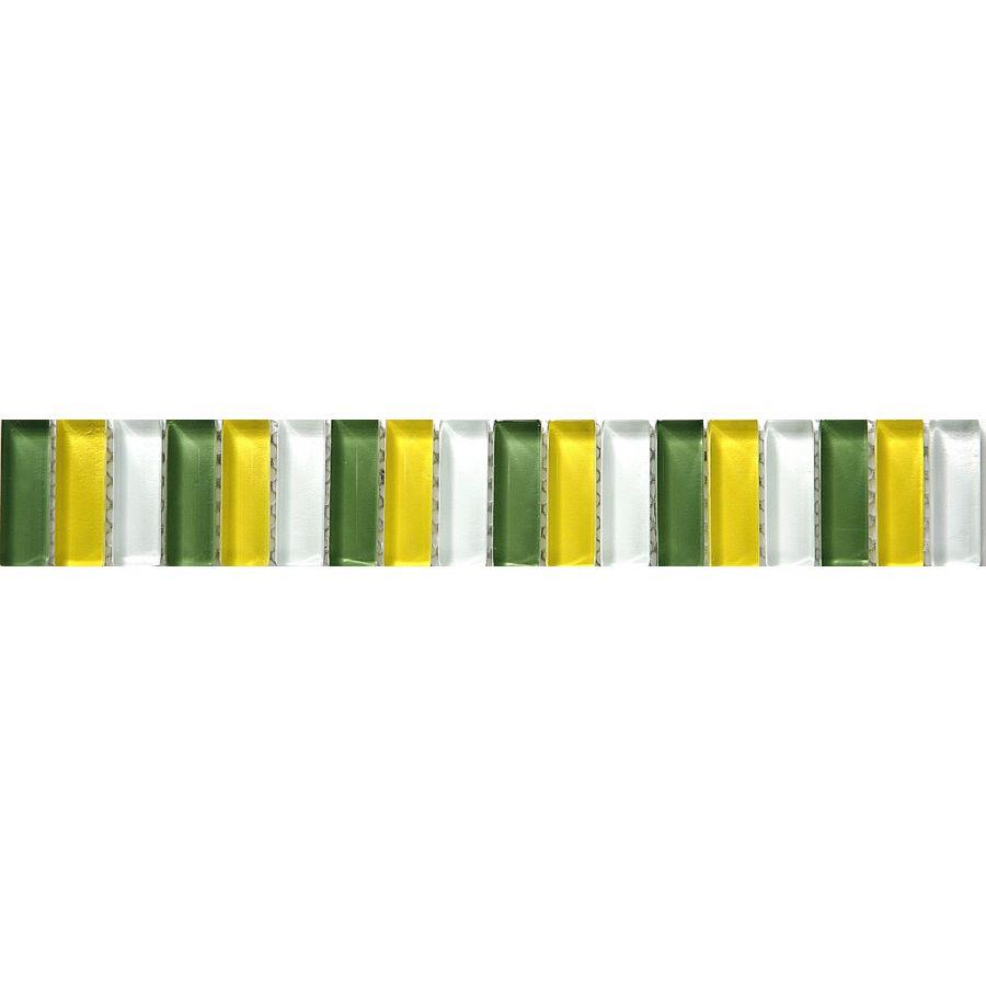Listwa szklana 8mm 33720 ZIELONO-ŻÓŁTO-BIAŁA MIX